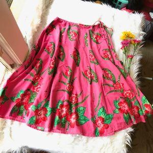 Boston Proper Pink Hibiscus Sequin Swing Skirt 10